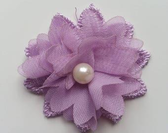 fleur en dentelle et fleur en mousseline mauve 45 mm