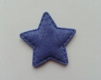 applique matelassée étoile façon jean foncé 35mm