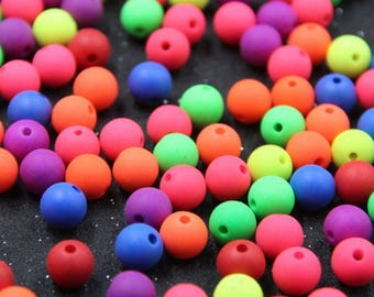 Set of 20 neon colored acrylic beads
