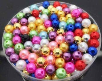 25 round beads 8 mm Pearly acrylic (varied lot)