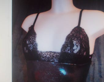 Lycra and Black Lace lingerie Nightie, size 36-38