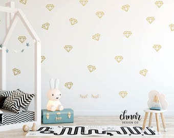 Diamond Wall Decals - Gold Wall Decals, Wall Confetti, Nursery Decor , Kids Playroom, Bedroom Wall Decor, Vinyl Decals, Silver Wall Decals