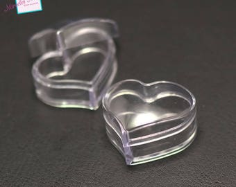 "2 boxes with ""32 x 26 x 19 cm heart"" bead storage, transparent"