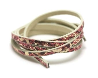 "leather strap 1 m 5 x 2 mm ""various No. 1 shell pink"""