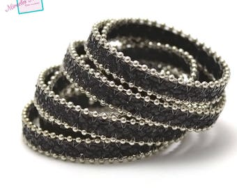 """1 m cord strap leather 10 mm """"string sequin 3"""" black"""