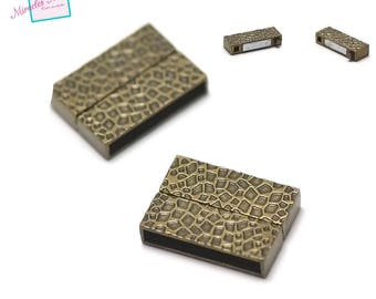 "1 clasp magnetic ""pattern"" 27 x 20 x 6 mm, 010 bronze leather and cord"