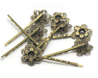 "hair pins/barrettes 4 ""double flowers"", bronze"