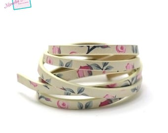 "fancy 5 mm double leather strap 90cm ""No. 2"", off white flower"