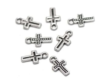 """20 charms """"cross"""", 13 x 7 x 1 mm, silver, has 010"""