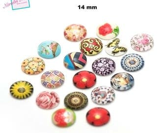 10 14 mm, round, assorted patterns dome glass cabochons