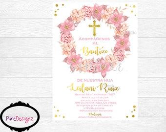Mi Bautizo Invitations, Bautizo Invitation, Baptism Invitations, Invitaciones Bautizo, Pink Bautizo Invitation