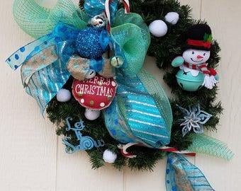 Snow man, snow, blue, silver, wreath, huge bow, unique, red, burlap bulb,