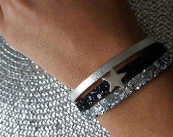 black and silver color cuff type bracelet