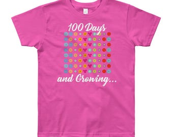 100 Days and Growing Flowers 100th Day of School Youth 8-12 T-Shirt students teachers gift school milestone celebration education day 100