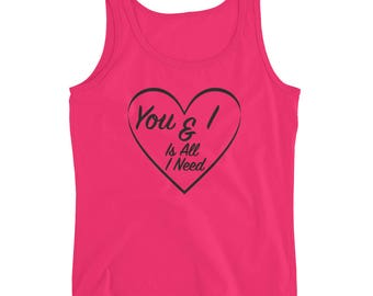 Ladies'  vintage look Valentines Day  tank top sweetheart great gift date night love hearts chocolates flowers  l love lucy black logo