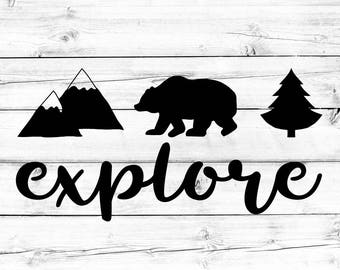 Explore Decal, Adventure Decal, Car Window Decal, Laptop Decal, Mountain Decal, Car Decal, Laptop Sticker, Vinyl Sticker, Vinyl Decal