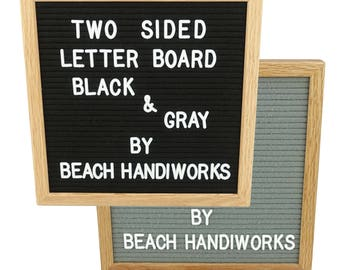 "12X12"" Felt Letter Board Black & Gray Two Sided Reversible American Red Oak Wooden Frame w/ 300 White Letters Double Dual Side"