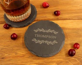 Personalized Slate Coasters Set of 4: Personalized Stone Coasters, Custom Personalized Wedding Favors, Groomsmen Coaster Set