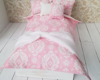 Pink Damask Fashion Doll Bedding Set