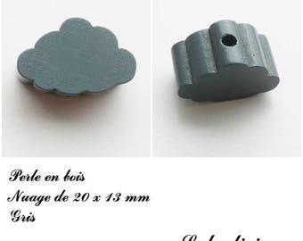 20 x 13 mm wood bead, Pearl flat cloud: gray
