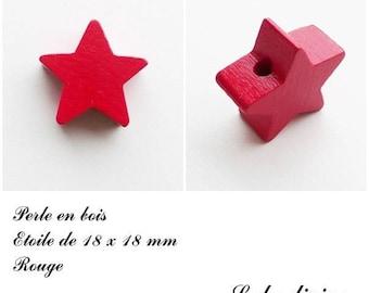18 x 18 mm wooden bead, bead flat Star: Red