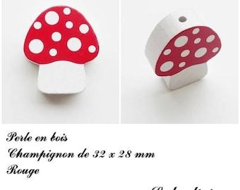 32 x 28 mm wood bead, Pearl flat mushroom: Red