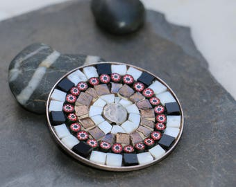 Terra-cotta tile, glass and millefiori brooch/pendant