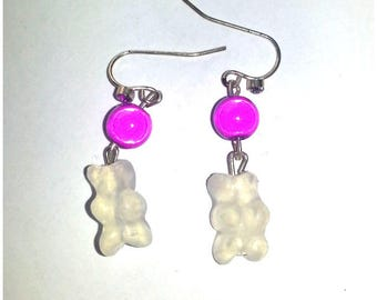 Pink bears clear and Pearl Earrings