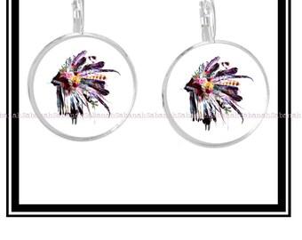 """Earrings """"Headdress Indian & flowers"""""""