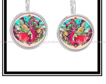 "Earrings ""Flamingo & tropics"""