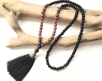 Black Mala tassel necklace & Jasper beads / boho necklace Natural zen stone lass brown wood beads black tassel buddha