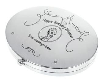 Personalised Engraved Oval Compact Mirror - Princess Design