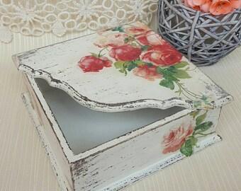 Napkins holder vintage Tissue box Tissue vintage box Wooden tissue box  Wedding tissue box holder Tissue box wood Mother's day gift box