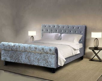 luxury crushed velvet silver sleigh bed hotel design several sizes available