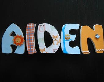Name with AIDEN custom wooden letters