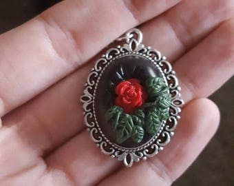 Fairy tale inspired rose pendant on an extra long silver chain (57cm) hand crafted from polymer clay. Cabouchon/cameo style necklace