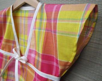 """kimono"" girl in pink and yellow madras 4t tunic"