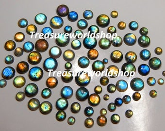 150 Ct Top Quality Superb 100% Natural Wholesale Lot Multi Fire Flashing Labradorite Calibrated Round Cabochon Madagascar Gemstone 10-20 mm.