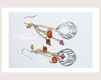 Earrings-pierced silver Sterling and Swarovski Crystal in warm colors