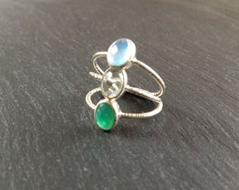thin ring in light green amethyst stone