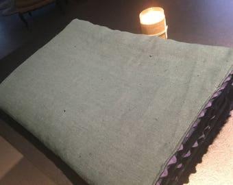 Plaid linen & fleece