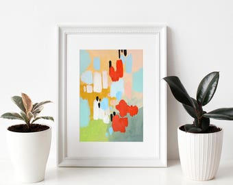 """small abstract painting, acrylic painting, modern painting, pastel colors abstract painting, original art, modern art - """"Flights of Fancy"""""""