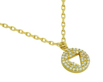 """Gold plated cz disk necklace with cutout triangle 16"""" + 2"""""""