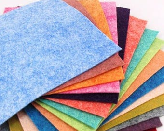 "Merino Wool blend Felt Sheets. 15 - 9""X12"" Luminous Heathered Collection"