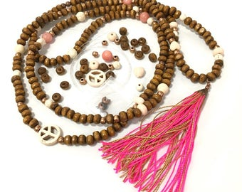 """Kit creation """"Rosary necklace wooden"""" Dragon pink boho style hippie wants"""