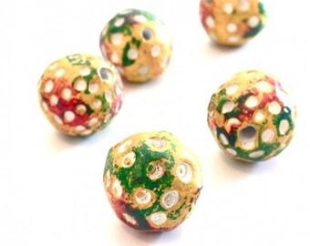 X 6 PCs beads Earth ethnic 15 mm