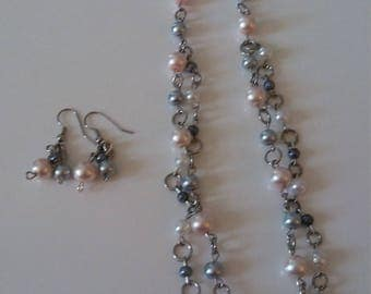 Necklace Pearl Pink and Gray