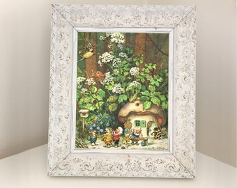 Gnome Picture with Mouse Butterfly & Crested Tit. Detailed illustration from 1980s vintage book. Gift for Child or Woodland Nursery Decor