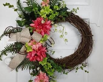 Front Door Decor; Front Door Wreaths, Everyday Wreath, Dahlia Wreath, Porch Wreath, Door Decor, Home Decor, Grapevine Wreath, Gifts for Her