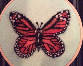 Hand dyed Wool painted Monarch butterfly